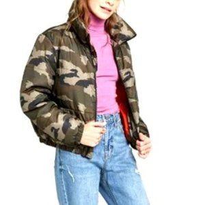 NWT Women Camo Print Puffer Jacket Sz M Olive